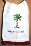 Christmas Guest Towel- Merry Christmas Y'all Palm-Monogrammed Holiday Stockings, Merry Christmas Y'all guest towel